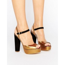 Terry de Havilland Coco Bronze Leather Platform Heeled Sandals